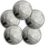 Lot of 5 - 2014 American Indian - Buffalo 1 Troy Oz .999 Silver Rounds $97 & more