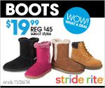Stride Rite - $19.99 Kids' Boots Sale or extra 20% sale