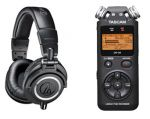 Audio-Technica ATH-M50x Professional Monitor Headphones, Black With Tascam DR-05 Portable Handheld Digital Audio Recorder $144 (AR)