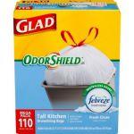 110-Ct Glad 13 gal. Drawstring Fresh Clean OdorShield or ForceFlex Trash Bags $6 and more + pickup