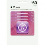Apple iTunes $60 Multi-Pack 4/$15 Gift Cards $50