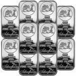 Lot of 10 SilverTowne Logo 1oz .999 Fine Silver Bar $217