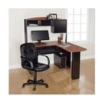 Mainstays L-Shaped Desk with Hutch + Leather Mid-Back Chair $114