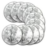 2014 1 oz Silver American Eagle (Lot of 10) $225