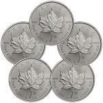 Lot of 5 - 2014 Canada 1 Troy Oz .9999 Silver Maple Leaf $5 Coins $110
