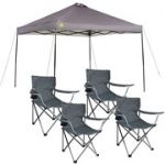 Ozark Trail instant 10x10 Straight Leg Canopy with 4 Folding Quad Arm Chairs $78
