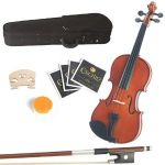 Mendini 13-Inch Natural Varnish Solid Wood Viola with Case, Bow, Rosin, Bridge and Strings $31