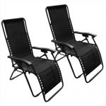 2 Zero Gravity Chairs Black Lounge Patio Chairs Outdoor Yard Beach $65