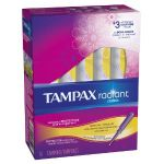 16 Count Tampax Radiant Plastic Unscented Tampons, Regular Absorbency $0.84