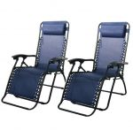 2 Zero Gravity Recliner Patio Pool Chair (Black and Blue)  $70