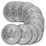 Gold and Silver Coin Deal at eBay: 2014 1 oz Gold Coin $1336; 2014 1 oz Silver Canadian Maple Leaf coin (10) $220