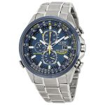 Citizen Eco Drive Blue Angels Chronograph Stainless Steel Mens Watch AT8020-54L $279