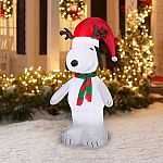 5' Airblown Inflatable Snoopy with Antlers and Santa Hat Christmas Inflatable $20