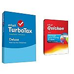 TurboTax Deluxe 2015 Federal + Fed Efile Tax Preparation Software PC/Mac Disc with Quicken Deluxe 2016 PC Disc $40