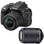 Nikon D3300 DSLR Camera + 18-55mm + 55-200 mm VR Lens (Refurbished) $349