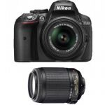 Nikon D5300 DX-Format DSLR Camera w/ 18-55mm, 55-200 DX VR II Lens (Manufacture Refurbished) $579