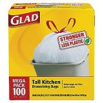 Glad Tall Kitchen Drawstring Trash Bags, 13 Gallon, 100 Bags $9.50 (Staples store pickup)