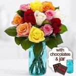12 Rainbow Mother's Day Roses with Blue Mason Jar & Chocolates + Shipping $21