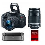 Canon EOS Rebel T5i DSLR w/ 18-55 & 55-250 STM Lenses + Pro 100 Printer & Paper $599 AR