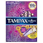 16-Ct Tampax Radiant Plastic Regular Absorbency Unscented Tampons $1.79