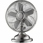 """Insignia 12"""" Retro Stainless-Steel Table Fan $26"""