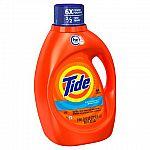 5x 100oz Tide Liquid Laundry Detergent (Various Scents) & More $35
