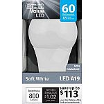 Great Value LED Light Bulb 8.5W (60W Equivalent) A19 $2.44