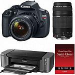 Canon T5 DSLR w/ 18-55mm & 75-300mm Lenses + PIXMA PRO-10 Printer Kit $449 AR