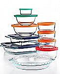 19-Piece Pyrex Bake, Store and Prep Set w/ Colored Lids $22.50 and more