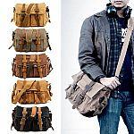 Men Vintage Style Canvas Leather Satchel School Military Shoulder Messenger Bag $26