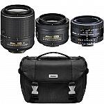 Nikon Super Three Lens Starter Bundle: 35mm, 50mm, & 55-200mm Zoom Lens (Refurbished) $329
