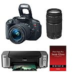 Canon EOS Rebel T5i DSLR Camera with 18-55mm and EF 75-300mm Lens and Printer Bundle $449 After Rebate