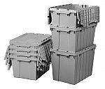 """Akro-Mils 21.5"""" × 15"""" × 12.5"""" Plastic Storage Container Tote with Hinged Lid, case of 6 $100"""