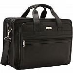 Samsonite Expandable Leather Computer Briefcase $49