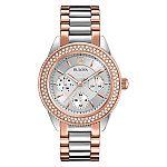 Bulova Women's 98N100 Multi-Function Crystal Bracelet Watch (Refurbished) $75