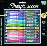 Sharpie Accent Pen Style Liquid Highlighter, Chisel Tip, 10 Pack $6