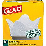 Glad Tall Kitchen Quick-Tie Trash Bags, 13 Gallon, 80 Ct $7