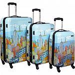 "Samsonite CityScapes NYC 3 Piece Premium 20"", 24"", 28"" Spinner Luggage Set $240"