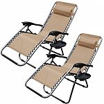 2-Pack Zero Gravity Chairs Case Of 2 Lounge Patio Chairs Outdoor Yard Beach $60