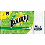 Bounty Paper Towels, White, 12 Large Rolls $13