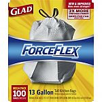 Glad Forceflex 100-Pack 13-Gallon Scent Free White Indoor Kitchen Trash Bag $12