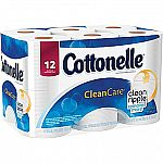Cottonelle CleanCare Bath Tissue, 1-Ply, 12 Rolls $3.80 & more (Staples store pickup)