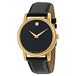 Movado Museum Black Dial Black Leather Mens Watch 2100005 $200