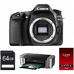 Canon EOS 80D CMOS DSLR Camera Body, Pro-100 Printer & 64GB Card + $350 MIR $849
