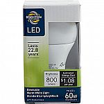 Brighton Professional A19 9-Watt LED Dimmable Light Bulb (BPR43464) $2.49