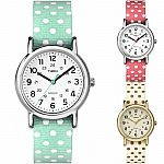 Timex Weekender Reversable Polka Dots Slip-Through Strap Casual Watch $20
