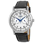 Citizen Eco-Drive Stainless Steel Black Leather Mens Watch AO9000-06B $130