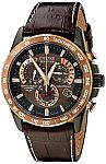 Citizen Men's AT4006-06X Stainless Steel Eco-Drive Watch with Leather Band $258