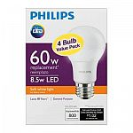 Philips 60W Equivalent Soft White A19 LED Light Bulb (4-Pack) $10