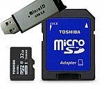 Toshiba Micro 32GB Secure Micro SD W/ SD Adapter Class 10 Memory & Free USB Card $10